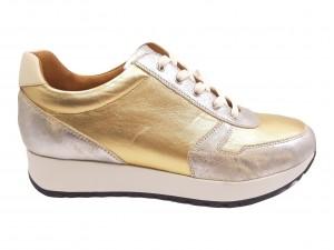 Pantofi sport damă argintiu și auriu din piele naturală