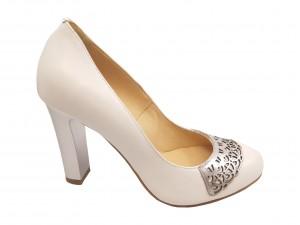Pantofi eleganți albi din piele naturală