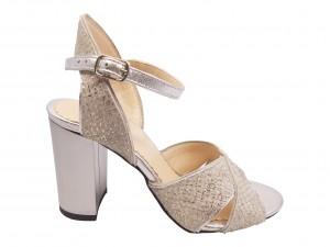 Sandale elegante argintii cu imprimeu șarpe