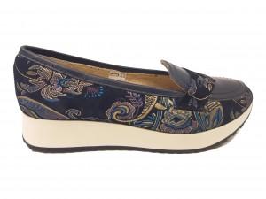Pantofi sport damă din piele naturală bleumarin cu flori