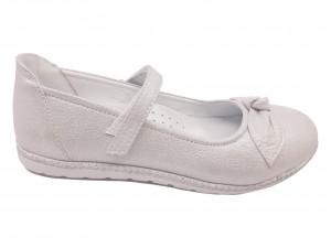 Pantofi fete argintii din piele naturală
