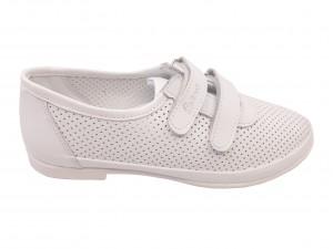 Pantofi fete albi perforați din piele naturală