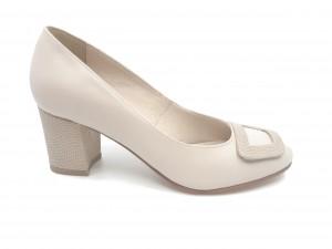 Pantofi damă bej din piele naturală