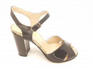 Sandale elegante negre din piele naturală lăcuită