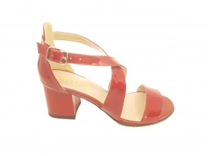 Sandale elegante roșii din piele naturală lăcuită