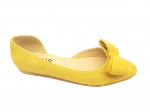Pantofi damă decupați, model D'Orsay,culoarea muștarului