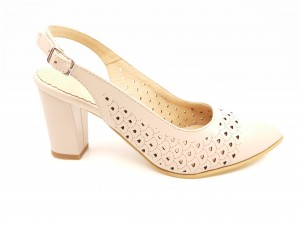 Pantofi damă nude din piele naturală, decupați la spate