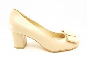 Pantofi damă bej cu fundiță, din piele naturală