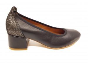 Pantofi damă negru cu argintiu, din piele naturală