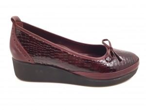 Pantofi damă casual burgundy din piele naturală