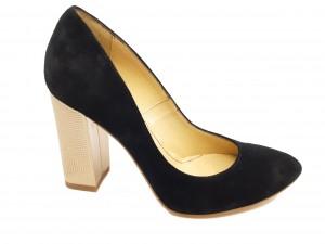 Pantofi negri din piele întoarsă, cu toc auriu