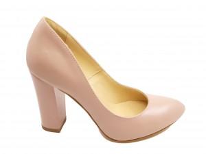 Pantofi damă roz din piele naturală, cu toc înalt