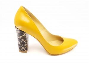 Pantofi damă muștar din piele naturală, cu toc înalt
