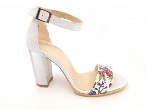 Sandale elegante argintii din piele naturală cu imprimeu flori