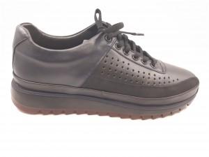 Pantofi sport negri din piele naturală