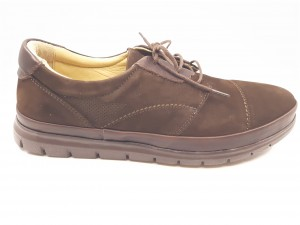 Pantofi casual maro cu șiret, din piele întoarsă