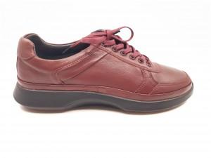 Pantofi casual bordo cu șiret, din piele naturală