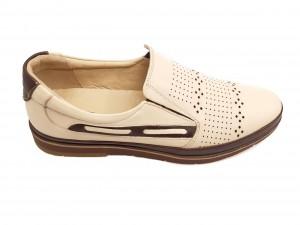 Pantofi casual crem din piele naturală In Tempo