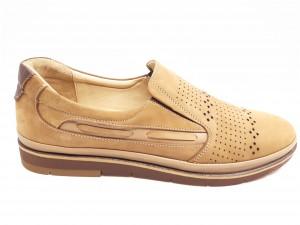 Pantofi casual bej din piele întoarsă In Tempo