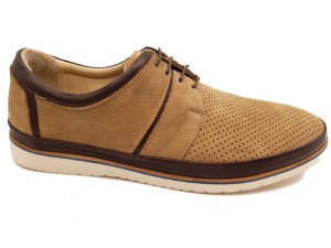 Pantofi casual bărbați piele întoarsă bej In Tempo