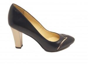 Pantofi eleganți negri cu auriu din piele naturală