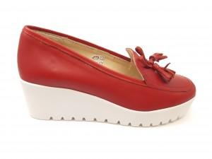 Pantofi damă casual roșii cu platformă