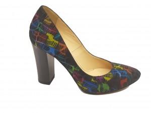 Pantofi eleganți negri cu model degrade 5 culori