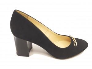 Pantofi damă office negri din piele întoarsă