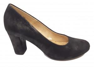 Pantofi damă eleganți negri din piele naturală întoarsă