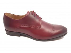 Pantofi eleganți vișiniu box din piele naturală