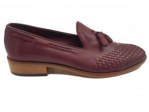 Pantofi eleganți bordo din piele naturală In Tempo