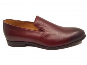 Pantofi eleganți slip-on vișinii din piele naturală