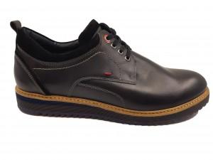 Pantofi casual bărbați negru box din piele naturală