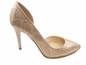 Pantofi damă decupați din piele naturală șarpe auriu