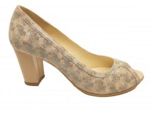 Pantofi damă decupați office, bej cu turcoaz sidefat, din piele naturală