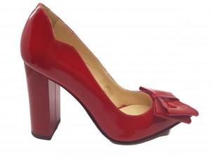 Pantofi damă eleganți din lac roșu cu fundiță