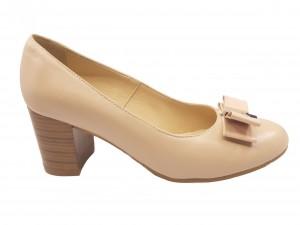 Pantofi Vera bej cu fundiță, din piele naturală
