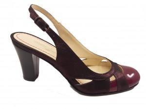 Pantofi decupați bordo sidefat din piele naturală