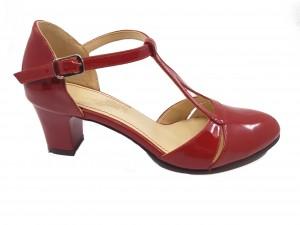 Pantofi decupați eleganți roșii din lac