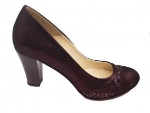 Pantofi damă eleganți bordo sidefat din piele naturală intoarsă