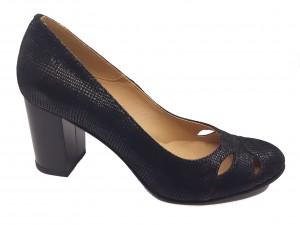 Pantofi damă office negri din piele naturală întoarsă