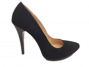 Pantofi stiletto negri din piele naturală întoarsă