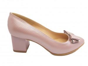 Pantofi damă office din piele naturală mov deschis