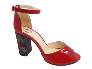 Sandale elegante roșii din lac cu toc multicolor