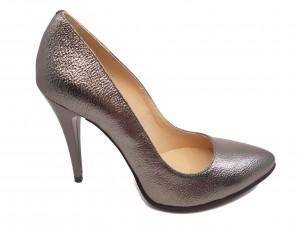 Pantofi stiletto argintii din piele naturală
