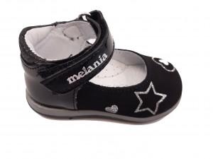 Pantofi fete negri din piele naturală întoarsă