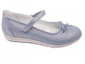Pantofi fete bleu sidefat din piele naturală întoarsă