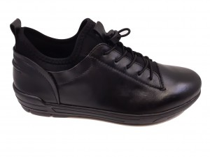 Pantofi sport stretch negri din piele naturală