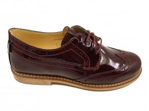 Pantofi damă Oxford bordeaux din lac