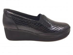 Pantofi damă casual negri din piele naturală lăcuită